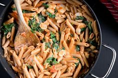 """Low fat, high protein penne with tomato """"cream"""" sauce. Uses Greek Yogurt in place of cream. Takes 15 minutes to make."""