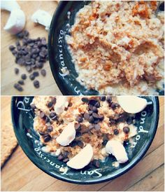 Smores Oatmeal:  1/2 Tbsp Mini Dark Chocolate Chips  1/3 Cup Whole Grain Oats  1/2 Cup Water  1 Tsp Ground Cinnamon  1 Jumbo Marshmallow (cut up)  1/4 Large Whole Grain Graham Cracker