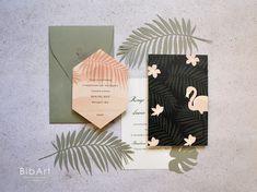3,60 cad partecipazione matrimonio tema tropicale - 50 pezzi 3, Flamingo, Envelope, Wedding Invitations, Reception, Shapes, Texture, Flowers, Green