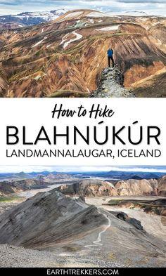 How to hike Blahnukur in Landmannalaugar, Iceland. #landmannalaugar #iceland #hiking #blahnukur