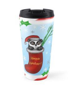Christmas Panda Travel Mug #panda #bears #bamboo #christmas #holidays