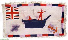 Frankaa' Asafo Flag Appliqued, Ship Ready to sail, Ghana Africa