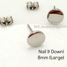 Men's stud earrings - men's earrings studs- steel flat disc stud earrings - fake plug earrings - fake gauge studs - nail it down Stud Earrings For Men, Plugs Earrings, Clip On Earrings, Etsy Jewelry, Handmade Jewelry, Fake Plugs, Stainless Steel Jewelry, Ear Piercings, Nails