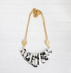 Zebra Jasper Statement  Necklace with Brass Accents by Kalinkati