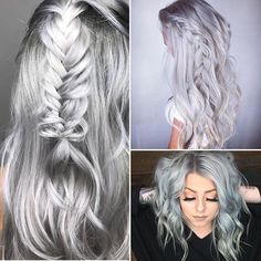 ⛓ Steel Yourself! Gorgeous gray and metallic silver hair colors perfect for the holidays! ☃️ (Left) @sadiejcre8s (Top Right) @abbybeverlyy (Bottom) @chloe_theyoungamerican #hotonbeauty . . . . #silverhair #steelhair #grayhair #metallichair #holidayhair