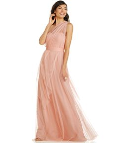Bridesmaids: Adrianna Papell Pleated Strapless Tulle Gown in Mint. Love the idea of a convertible dress - then everyone gets what they want. Mob Dresses, Size 14 Dresses, Fashion Dresses, Formal Dresses, Tulle Gown, Draped Dress, Bridesmaid Dress Stores, Bridesmaids, Infinity Gown