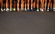 <p>Competitors wait at the start line for the Men's 50km Race Walk on Day…