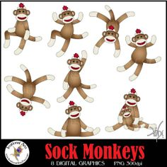 INSTANT DOWNLOAD Sock Monkey set 1 with png by IrrationalArts, $4.95