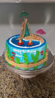 Summer pool fun cake