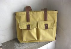 Canvas Tote Bag with Leather Straps Yellow by avivaschwarz on Etsy, $78.00
