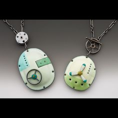 Enameled pendants by Reiko Miyagi . Unusual designs and pretty spring colors. Thanks, I'll take both!  http://public.craftcouncil.org/2011/42/18/21131