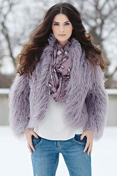 10 trends plus-size women can rock Fabulous Furs Lavender Tibetan Lamb Faux Fur Jacket, $179, available at Fabulous Furs.