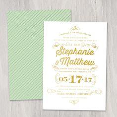 I Do Gold Foil Custom Wedding Invitation, Sample Set — foil stamped, whimsical, vintage, classic