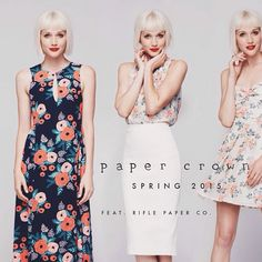 Paper Crown Spring 2015 featuring Rifle Paper Co. OMG! That navy dress in a quintessential Rifle Paper print is To. Die. For!