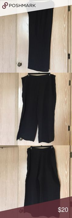 Ralph Lauren black wide-leg pants - plus size Black wide-leg pants made of 100% silk. Side zipper and side elastic. Waist - 44 inches; length - 40 1/2 inches. Excellent condition Lauren Ralph Lauren Pants Wide Leg