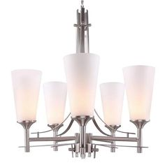LNC Modern Chandelier with 5-Light, Brushed Nickel Finish,Frosted Glass Shade