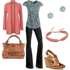 """""""blue and coral spring"""" by lulums on Polyvore"""