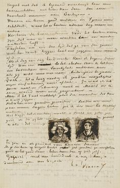 letter from vincent van gogh to theo van gogh with sketches of head of a woman and head of a woman van gogh museum