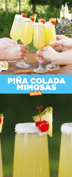 Pina Colada Mimosas = making hard decisions SO much easier. Get the recipe at Delish.com.