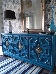 Hey, I found this really awesome Etsy listing at http://www.etsy.com/listing/156050564/turquoise-ornate-9-drawer-dresser