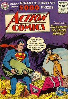 This 1956 issue of DC Comics, Action Comics # 219 featuring Superman, Congo Bill & Tommy Tomorrow is in Very Good - Fine Condition! A very Nice Comic Book with light cover & corner wear! Old Superman, Superman Comic, Superman Stuff, Superman Family, Batman, Dc Comics, Superman Action Comics, Best Comic Books, Comic Books Art