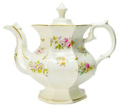 Large Octagonal Porcelain Teapot with Painted Flowers, Antique English William…