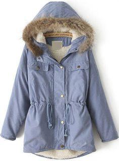 Abrigo con capucha manga larga-azul