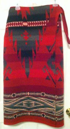 Vtg Ralph Lauren Western Navajo Indian Blanket Wrap Skirt 100 Wool Fits 8  12  1afae278e99a2