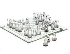 32-Piece 8x8 Frosted Glass Chess Set Board