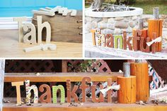 """Easy DIY Thanksgiving and fall decoration idea. Add a personal touch to your autumn home decor with this """"Thankful"""" wood kit. Use paint, modge podge, glitter, etc. The possibilities are endless!"""