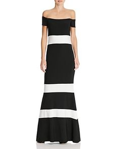 Avery G Striped Off-The-Shoulder Gown
