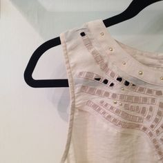 Flowy Sheer Top Real pretty!! Gold studs and sheer tank. trade val: $12 Forever 21 Tops