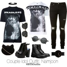 Couple Idol Outfit: Namjoon by btsoutfits on Polyvore featuring polyvore, fashion, style, Hood by Air, New Look, Miss Selfridge, Fendi, AMIRI, Polaroid and Uniform Wares