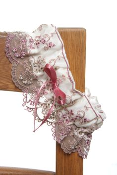 Handmade vintage pink lace garter
