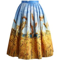 Chicwish Golden Wheat Field Pleated Midi Skirt ($43) ❤ liked on Polyvore featuring skirts, multi, pattern skirt, pleated midi skirt, knee length pleated skirt, summer skirts and mid-calf skirt