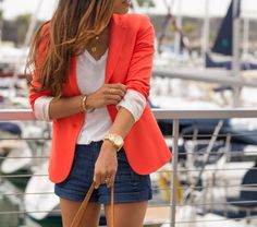 Love layering the colored blazer with navy shorts. Also love layering a long sleeve white tee under a blazer! So many ideas… Navy Shorts Outfit, Orange Blazer Outfits, Blazer And Shorts, Blue Shorts, Short Outfits, Summer Outfits, Cute Outfits, Simple Outfits, Look Fashion