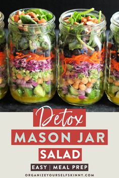 Easy Detox Mason Jar Salad For Lunch To Take To Work | Easy Meal Prep Recipes for Busy People - Looking for a healthy, easy mason jar recipe for an easy lunch? This healthy salad is perfect for meal prep and will keep you full with protein! Click through to check out the full recipe! Organize Yourself Skinny | healthy salad clean eating | healthy salad recipes #healthysalad #saladrecipes #masonjarsalad #mealprep