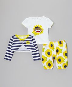 Look at this #zulilyfind! Sock Monkey Blue & Yellow Sunflower Tee Set - Infant by Sock Monkey #zulilyfinds