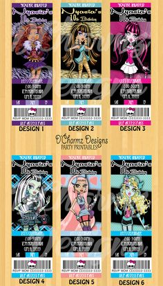 Monster High Party Invitation (Ticket Style)  I think these are THE ones!
