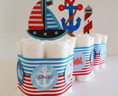 Náuticos Baby Shower pastel de pañales por LilLoveBugsCreations