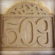 handmade ceramic house number plaque 509