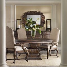 Hooker Furniture Rhapsody 5 Piece Round Dining Table Set with Upholstered Chairs - HOOK4401