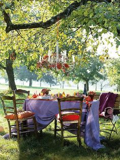 A purple tablecloth makes all the difference for this al fresco picnic, doesn't it?!