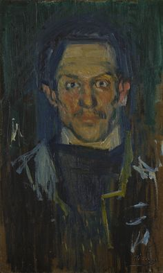"""Pablo Picasso. Self Portrait (Yo). 1901 Oil on cardboard mounted on wood 20 1/4 x 12 1/2"""" (51.4 x 31.8 cm) Mrs. John Hay Whitney Bequest"""