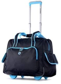 Olympia Rave Deluxe Fashion Rolling Overnighter Carry-on Tote Bag (Blue) 594faca43b34a
