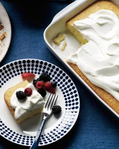 Coconut Cake with Berries and Cream A riff on tres leches, this coconut-spiked sponge cake is soaked in condensed milk, heavy cream, and -- in place of the usual evaporated milk -- coconut milk. Serve it with mixed berries and whipped cream.