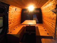 How to build a bed, table, storage bench combination in a Sprinter camper van conversion. Camper Beds, Diy Camper, Camper Van, Rv Campers, Truck Camper, Motorhome, Van Bed, Sprinter Van Conversion, Camper Conversion
