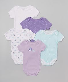 Loving this Purple & Turquoise Bird Bodysuit Set - Infant on #zulily! #zulilyfinds