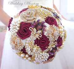 cherry color gold jeweled with crystals and pearls, wedding bouquet / http://www.deerpearlflowers.com/burgundy-and-gold-wedding-ideas/