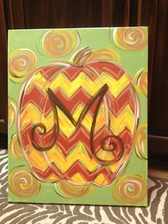 New design! Currently booking paint parties with this super cute chevron pumpkin design. I'll add the initial! I'm slightly obsessed with all things chevron, so this design makes me happy, happy, happy!!